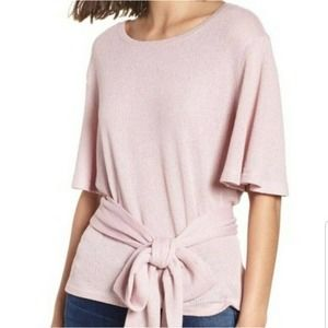 BP large tie waist ribbed knit top pink slouch